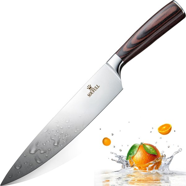2. Professional Chef Knife, Soufull 8 inch Stainless Steel Kitchen Knife-Razor Sharp Durable Blade,Well Balanced Ergonomic Pakka Wood Handle,Multipurpose Top Chef's Knife with Gift Box