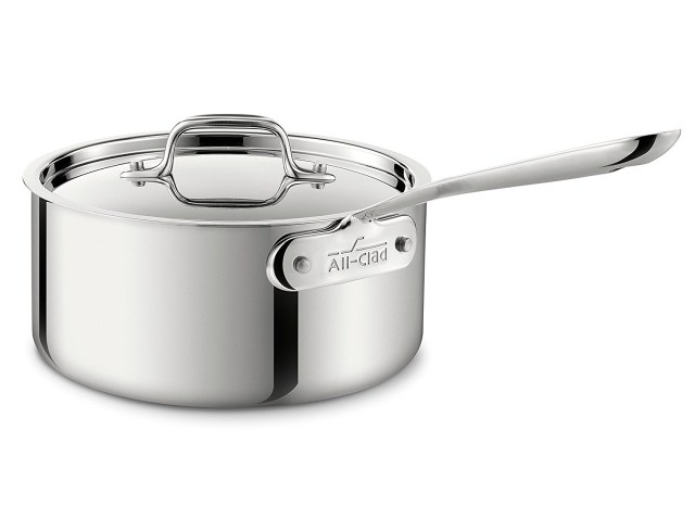 3. All-Clad 4203 Stainless Steel Tri-Ply Bonded Dishwasher Safe Sauce Pan with Lid
