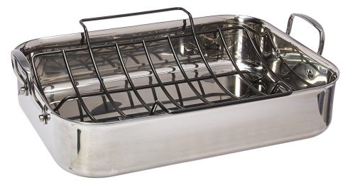 7. Anolon Tri-Ply Clad Stainless Steel 17-Inch by 12.5-Inch Large Rectangular Roaster with Nonstick Rack
