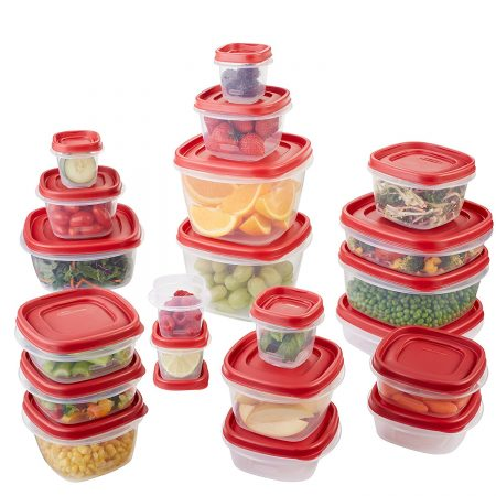 9. Rubbermaid Easy Find Lids Food Storage Container, 42-Piece Set, Red