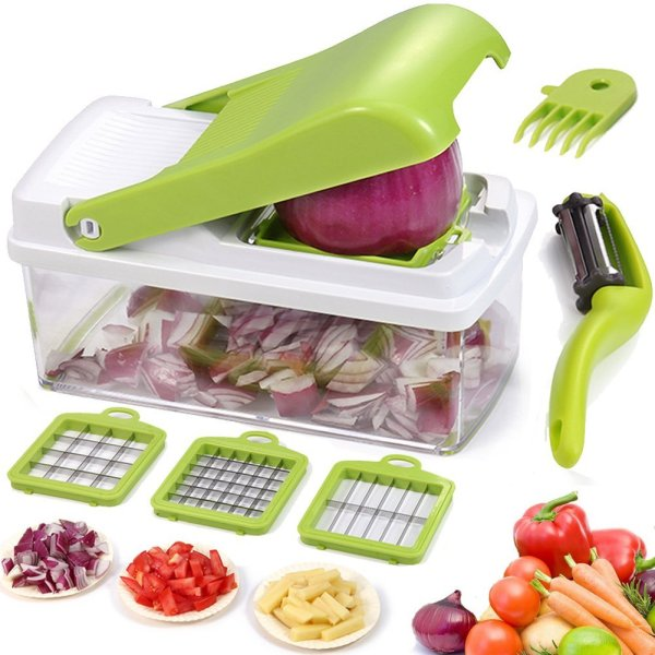 10. Vegetable Chopper Dicer Slicer Grater Cutter Artbest Manual Onion Shredder Fruit Cutter with 3 Stainless Steel Blades