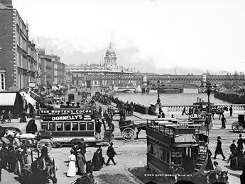 Eden Quay displays the bustle of turn of the century Dublin city life