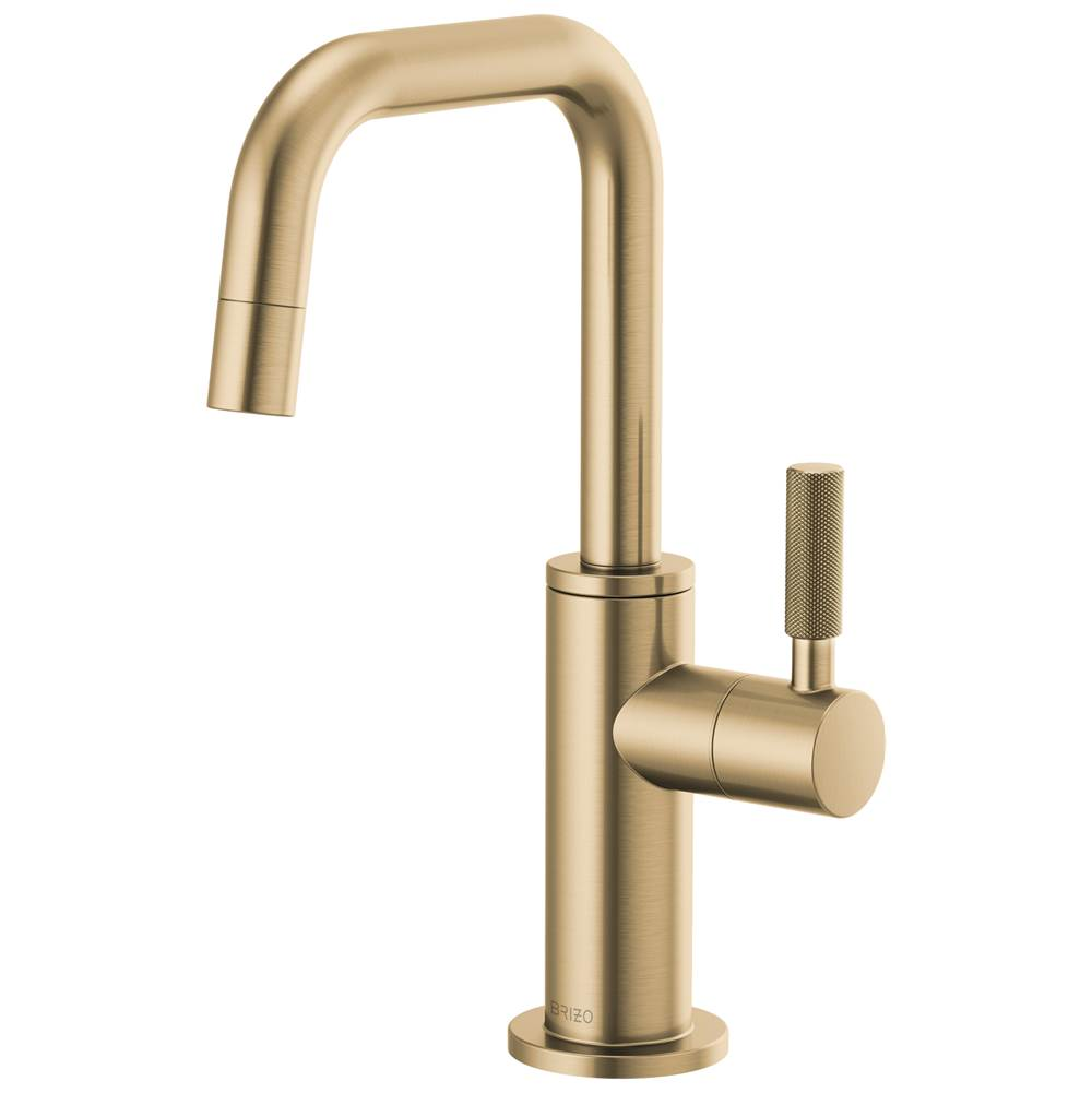 litze beverage faucet with square spout and knurled handle