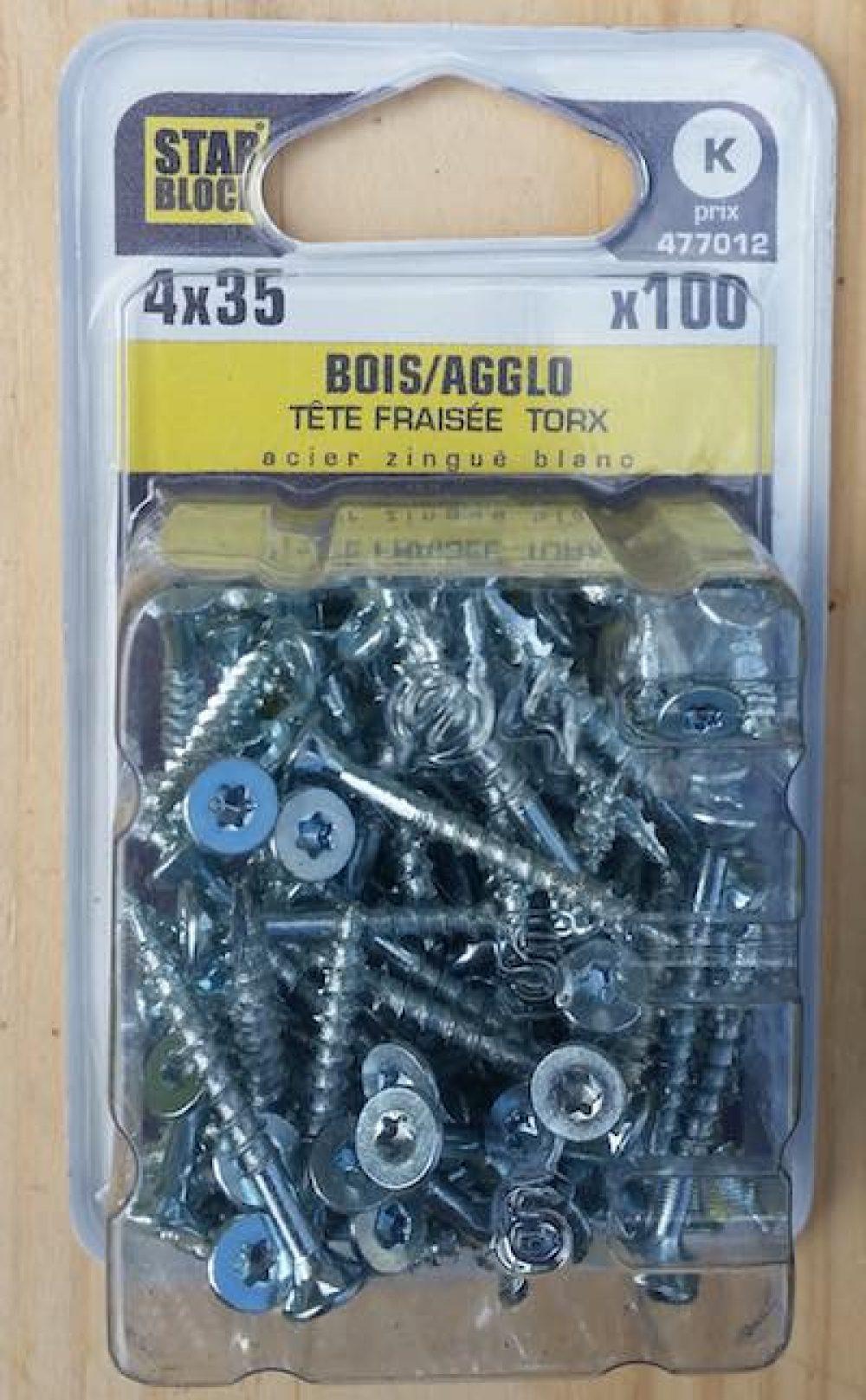 vis boite de 100 vis acier tete fraisee torx starblock 4x30mm 4x35mm