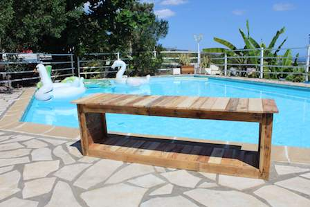 Banc exterieur piscine