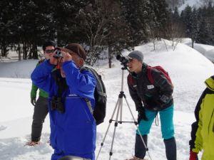 数百m先の斜面にいたカモシカの姿を単眼鏡などで追います。