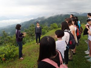 Hearing the brief explanation of the area overseeing the panoramic view from the top.