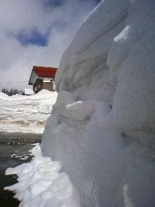 それでも昼に少しだけ晴れ間が見えて、日差しの暖かさが感じられました。 除雪車にけずられた雪の壁には新しく積もった雪が迫り出したり、断面の凹凸にも積もったりしています。