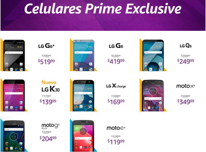 Ofertas exclusivas en celulares para Amazon Prime