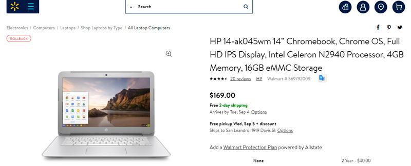 "HP 14-ak045wm 14"" Chromebook por $169"