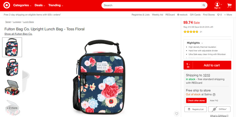 Fulton Bag Co. Upright Lunch Bag - Toss Floral por solo $9,74