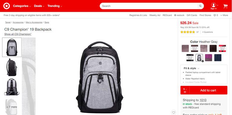C9 Champion® 19 Backpack por $26.24