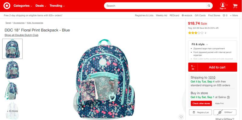 """DDC 18"""" Floral Print Backpack – Blue por sólo $18.74"""