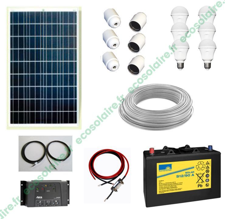1 De Usb 12v Ampoules Chargeur Avec D'éclairage 6 Kit 110wc Écosolaire® Prise Et c4R35LAjqS