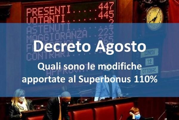Decreto Agosto: modifiche al Superbonus 110%
