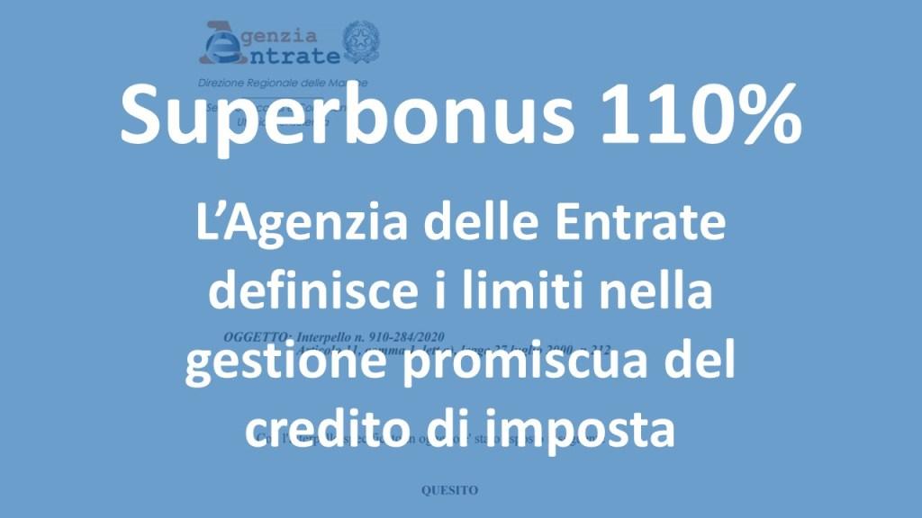 Superbonus 110% - limiti nella cessione del credito di imposta