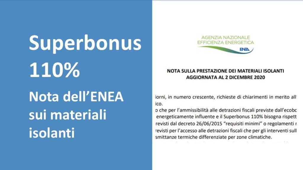 ENEA - nota sui materiali isolanti per Superbonus 110%