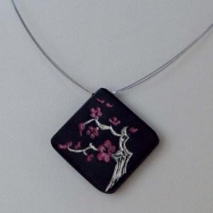 collier cerisier en fleurs argent ébène Blue Baobab