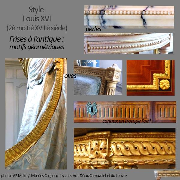 mobilier Louis 16 frises à l'antique ecoutelebois