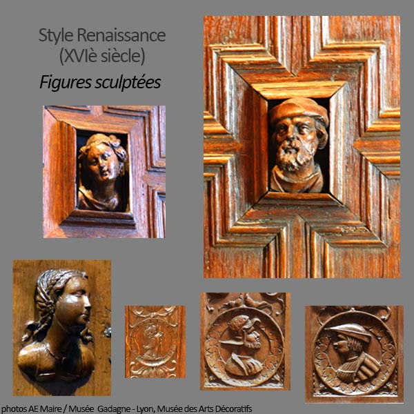 mobilier renaissance figures sculptées
