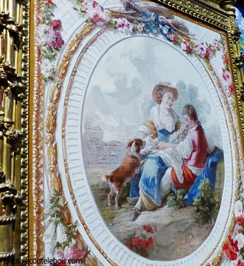 scène champêtre écran de cheminée 18e Gobelins ecoutelebois