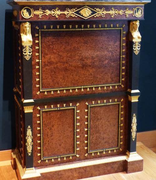 secretaire Empire placage racine if Louvre ecoutelebois