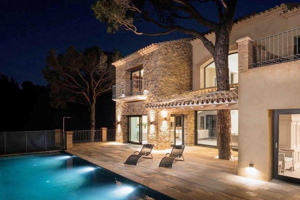 A villa in Spain at night