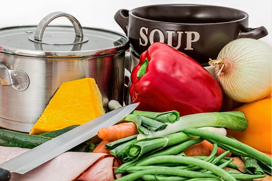 vegetables and soup pans