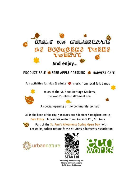 Ecoworks Harvest Hootenanny- 20th Birthday