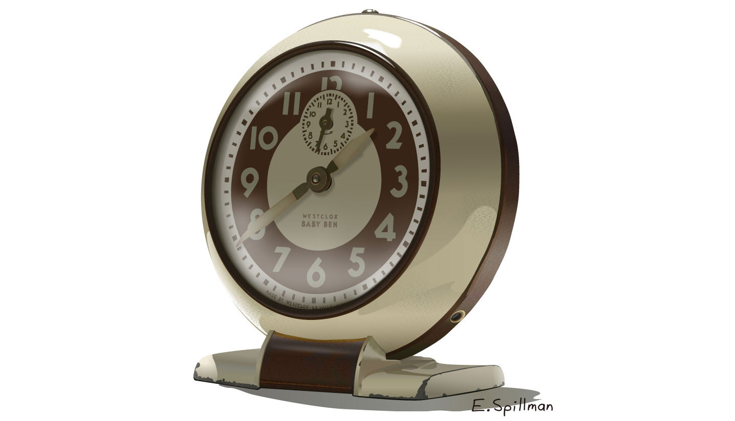 Antique Clock vector art by E. C. Spillman