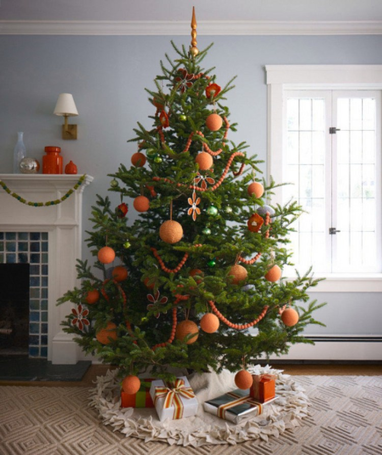 creative christmas tree decorations - Orange Christmas Tree Decorations