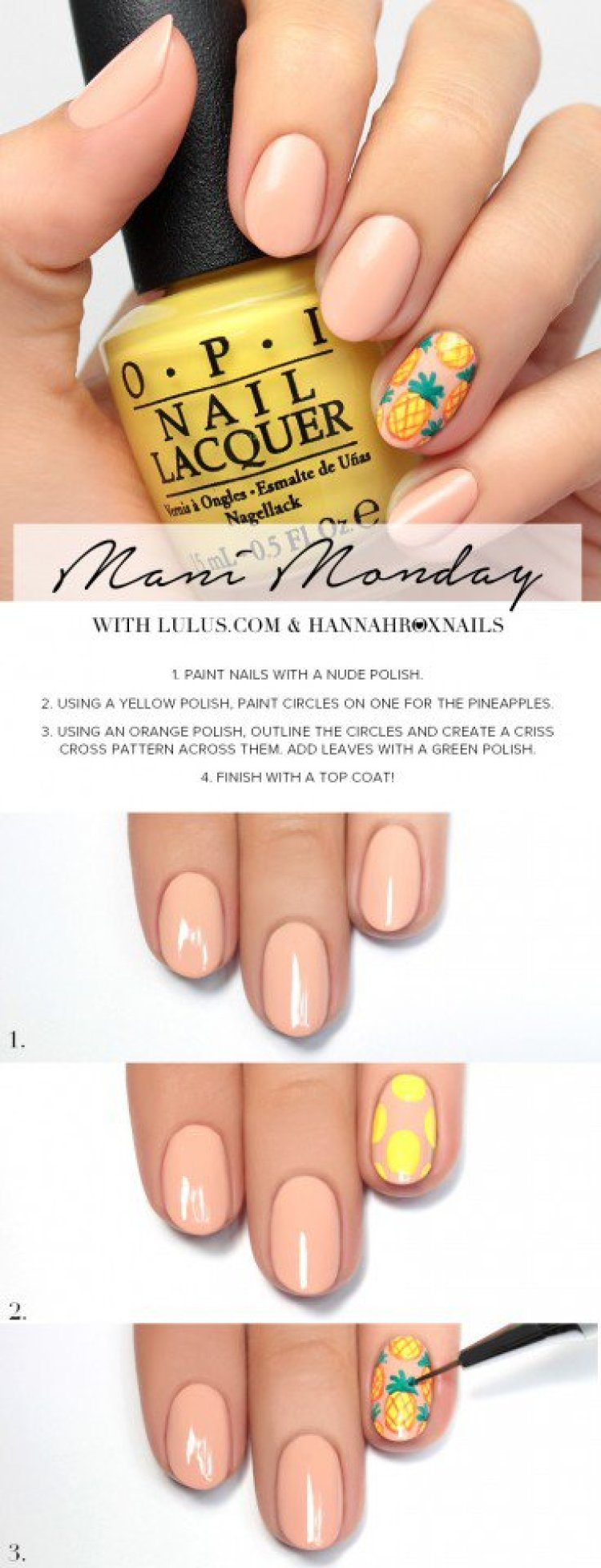 10 simple nail art designs tutorial you need to know for summer simple nail art designs tutorial pineapple nail design tutorial prinsesfo Image collections