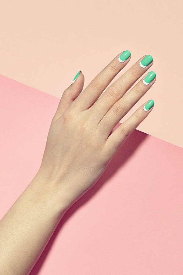 40 elegant and amazing green nail art designs that will inspire fresh looking green and white minimalist nail art prinsesfo Gallery