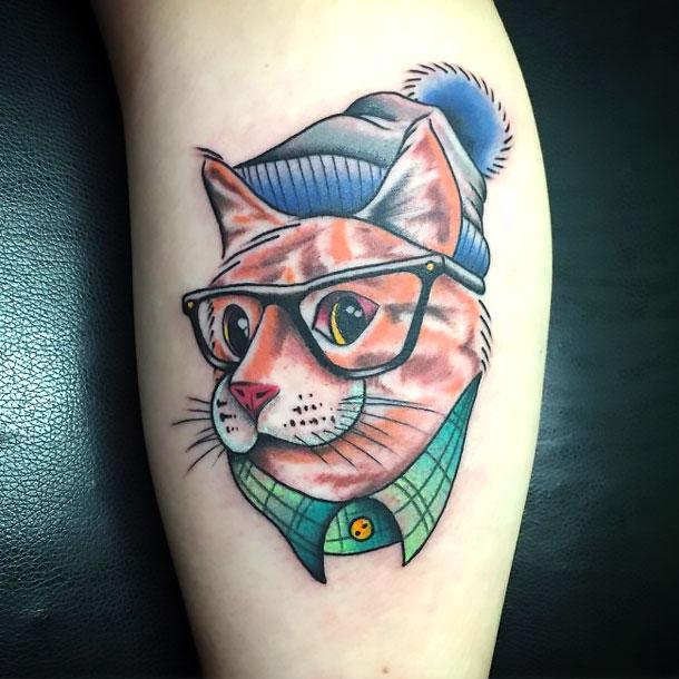 45 cute and lovely cat tattoos ideas for cat lovers for Funny tattoos ideas