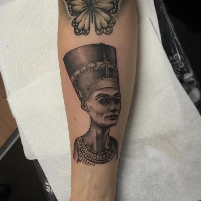 Male With Inner Forearm Tattoo Design Of King Tut Tattoo Art