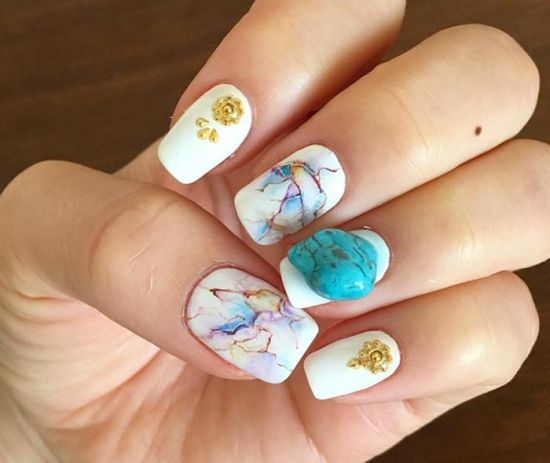 30 amazing rhinestone nail art designs ecstasycoffee cool abstract white nails with stone nail design prinsesfo Image collections