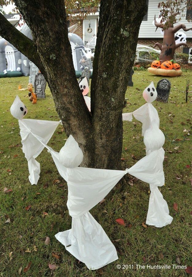 diy halloween decorations yard ghosts ring 1 - Diy Halloween Outdoor Decorations