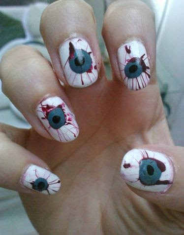 80 cute halloween nail art ideas you can do at home ecstasycoffee very impressive bloody vampire eyes halloween nail art prinsesfo Image collections