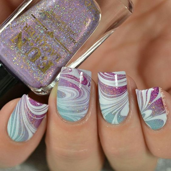 Art Designs: 40 Awesome Water Marble Nail Art Designs You'll Want To