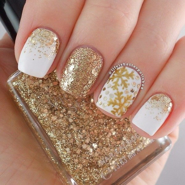 40 Best Examples Of Gold Glitter Nail Polish Art Just For You