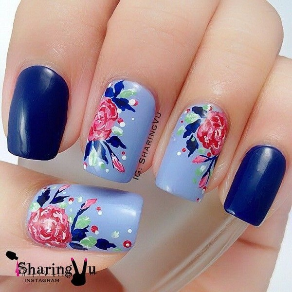 44 Lovely Flower Nail Art Design » EcstasyCoffee