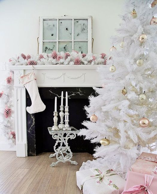 christmas tree with pastel metallic ornaments