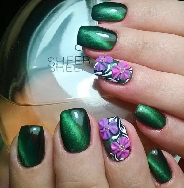 130 Beautiful Nail Art Designs Just For You: 50 Beautiful And Unique Green Nail Art Designs Ideas