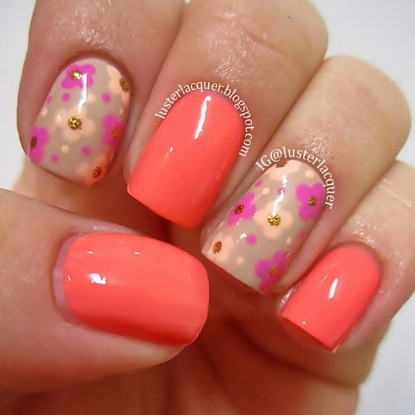 44 Lovely Flower Nail Art Design » EcstasyCoffee