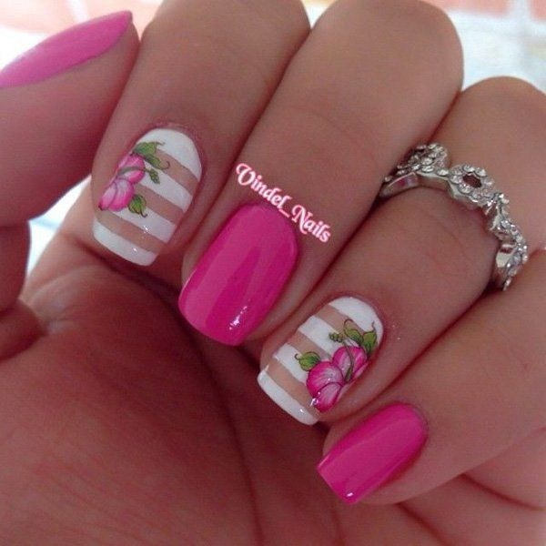 44 lovely flower nail art design ecstasycoffee pink and white flower nail design mightylinksfo