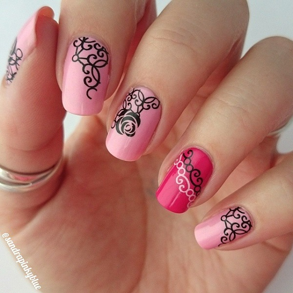 beautiful pink nail art design