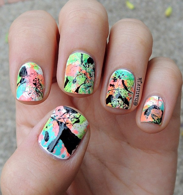 66 unbelievably cool abstract nail art ideas ecstasycoffee pretty paint splattered paint splatter design prinsesfo Choice Image