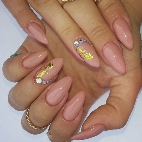 40 amazingly creative stiletto nails designs to try ecstasycoffee nude stiletto nails with golden hints prinsesfo Gallery