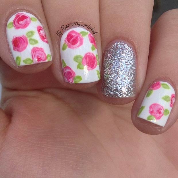 Floral Manicures For Spring And: 47 Gorgeous Rose Nail Art Designs For Summer » EcstasyCoffee