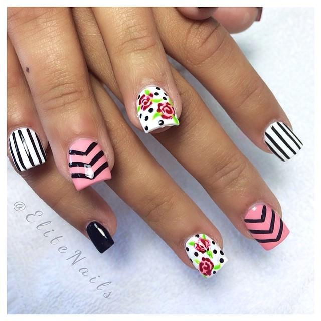 Simple Line Nail Art Designs : Gorgeous rose nail art designs for summer ecstasycoffee